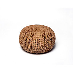 Natural Round Woven Jute Pouf