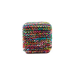 Rainbow Connection Square Woven Pouf