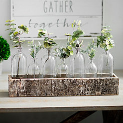 Birch Crate Glass Bottle Vase Runner Set