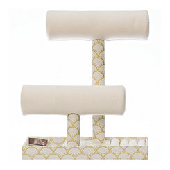 Ivory Scallop 2-Tier Jewelry Stand