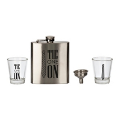 Tie One On 3-pc. Flask and Shot Glass Set