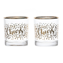 Gold Foil Double Old-Fashioned Glasses, Set of 2