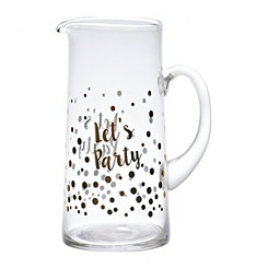 Let's Party Gold Foil Glass Pitcher