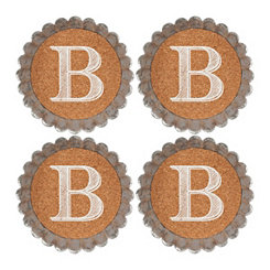 Cork and Galvanized Monogram B Coasters, Set of 4