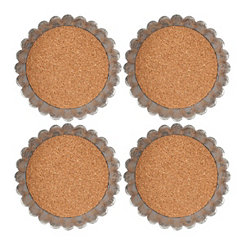 Cork and Galvanized Metal Coasters, Set of 4