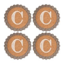 Cork and Galvanized Monogram C Coasters, Set of 4