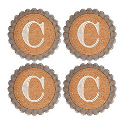 Cork and Galvanized Monogram C Coasters, Set of 4