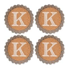 Cork and Galvanized Monogram K Coasters, Set of 4