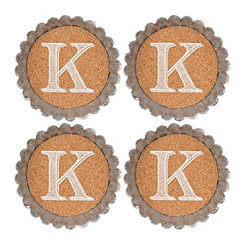 Cork and Galvanized Monogram K Coasters, Set of 4