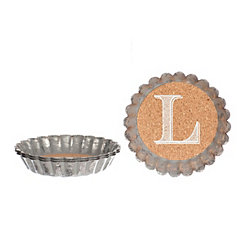 Cork and Galvanized Monogram L Coasters, Set of 4