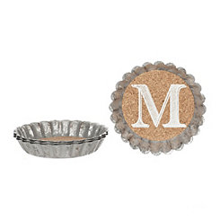 Cork and Galvanized Monogram M Coasters, Set of 4