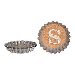 Cork and Galvanized Monogram S Coasters, Set of 4