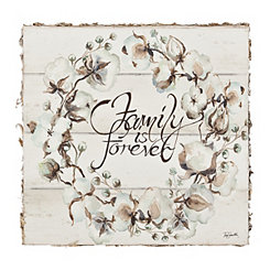 Family is Forever Wooden Plaque with Bark Edges