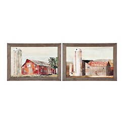 Barn Silos Framed Art Prints, Set of 2
