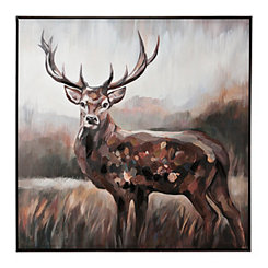 Waiting Buck Framed Canvas Art Print