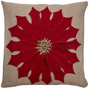 Studded Red Poinsettia Pillow