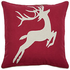Ivory Reindeer Applique Pillow