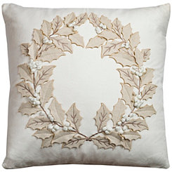 Ivory Wreath Applique Pillow