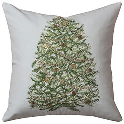 Gold Trimmed Christmas Tree Pillow