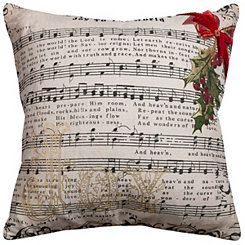 Joy To The World Christmas Bow Applique Pillow