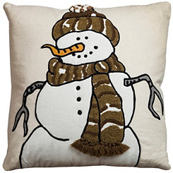 Brown Snowman Applique Pillow