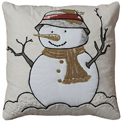 Snow Fisherman Applique Pillow