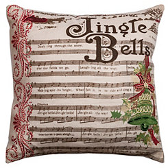 Jingle Bells Christmas Bell Applique Pillow