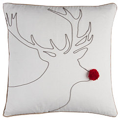Red Nose Reindeer Outline Pillow