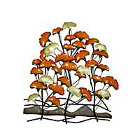 Orange and White Flower Metal Wall Plaque