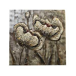 Embossed Flower Oil Painted Canvas Art Print
