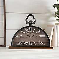 Half Circle Metal and Wood Tabletop Clock