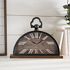 Half Circle Metal and Wood Tabletop Clock