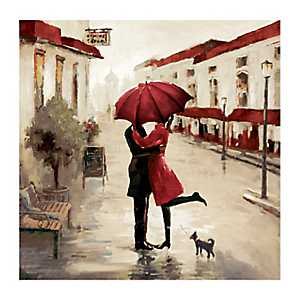 A Red Umbrella Couple Canvas Art Print