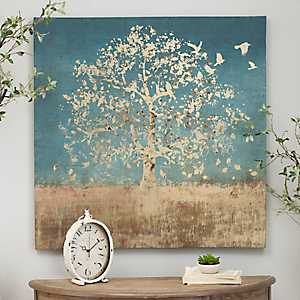 Golden Birds Tree Canvas Art Print