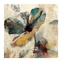 Abstract Brown & Aqua Floral Canvas Art Print