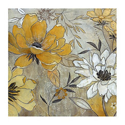 Vintage Gray & Yellow Floral Canvas Art Print
