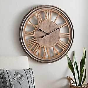 Tate Distressed Wood Wall Clock