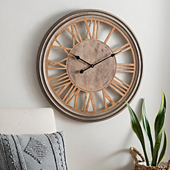 Tate Distressed Wood Wall Clock