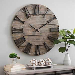 Craig Round Wood Slat Wall Clock