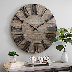 Craig Round Wood Slat Wall Clock