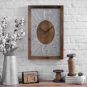 Wood and Metal Square Wall Clock