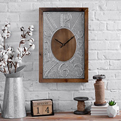 Embossed Metal and Wood Wall Clock