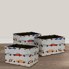 Race Car Collapsible Fabric Bins, Set of 3