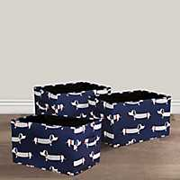 Navy Dachshund Collapsible Fabric Bins, Set of 3