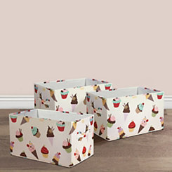 Cupcake and Ice Cream Collapsible Bins, Set of 3