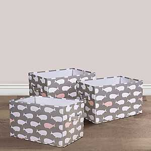 Pink Whale Collapsible Fabric Bins, Set of 3