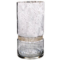 Silver Diamonds Hurricane Cylinder Candle Holder
