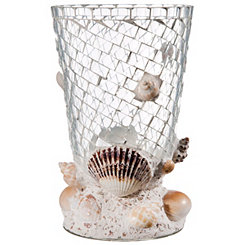 Glass Mosaic Hurricane Candle Holder With Shells