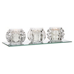 Crystal Votives On Mirror Runner, Set of 3