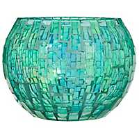 Green Glass Mosaic Votive Holder